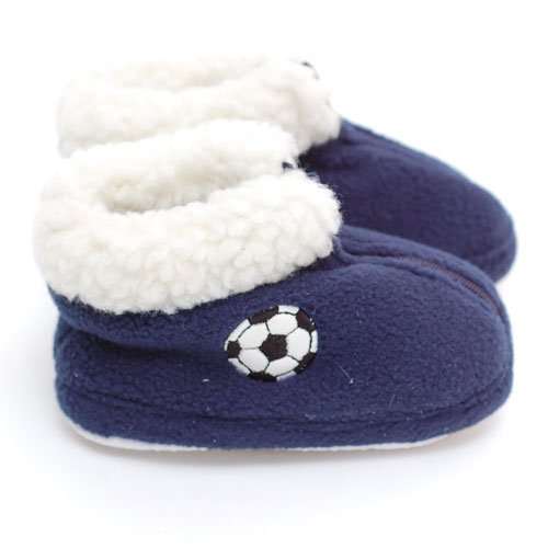 Cheap Easy Infant Toddler Boys Slippers Navy Soccer Zipper Booties Boy 3-6 (BB5650NAVY)