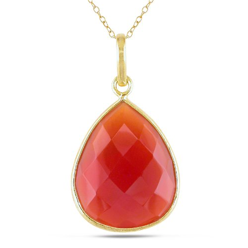 22k Yellow Gold Plated 20ct TGW Carnelian Fashion Pendant (18 inches)