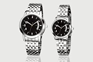Orient Idea Ori-0094E Black Dial Silvery Steel Band Quartz Analog Watches for Lovers with Date Calendar