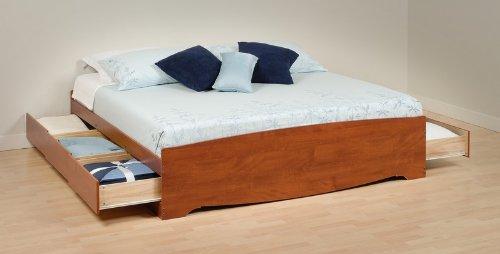 Platform Bed - King Size Platform Storage Bed in Cherry - Prepac Furniture - CBK-8400