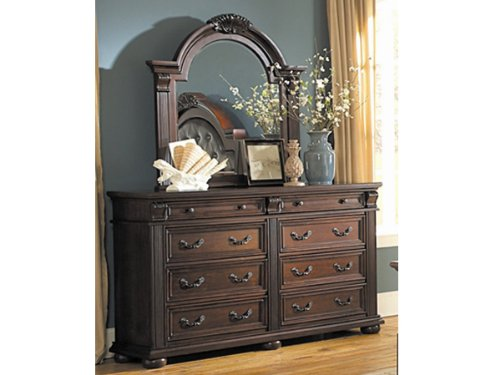 Silas Dresser & Mirror By Homelegance In Cherry front-919485