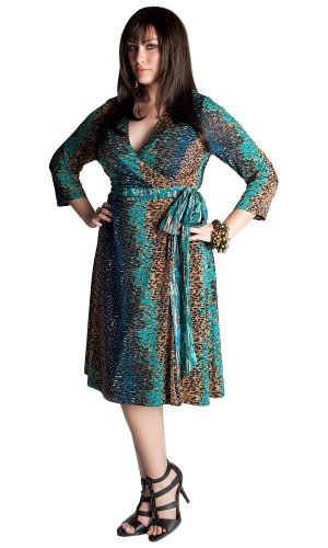 Discount IGIGI by Yuliya Raquel Plus Size Cheryl Wrap Dress in Teal Multi