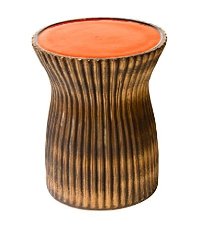 Seasonal Living Ridged Ceramic Stool, Orange