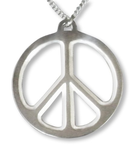 Large Peace Sign Polished Silver Pewter Pendant Necklace Fashion Jewelry