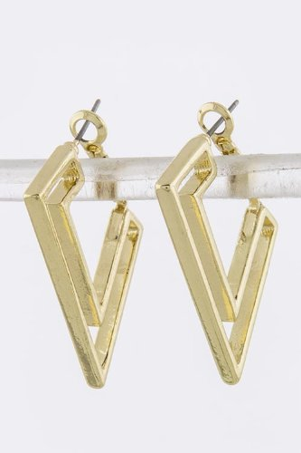 Karmas Canvas Angular Metal Frame Earrings (Gold)