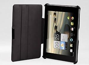 ((高品質液晶保護フィルムセット))Acer A1-810 専用高品質PUレザーケース スタンド機能 角度調整機能付き/黄金宮殿オリジナル (2-1) (ブラック)