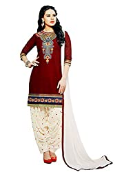 Pehnawa Fashion Women Cotton Unstitched Dress Material (Mehroon with Cream)