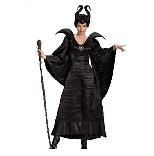 [NEW! Maleficent Black Cosplay Complete Costume Black Witch Full Christmas Outfit (XX-Large, Black)] (Halloween Costume Contest Prize Ideas)