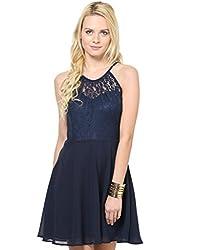 Besiva Sleeeveless Lace Insert Navy Blue dress