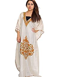 Exotic India Ivory Kaftan From Kashmir With Ari Hand-Embroidered Flo - Off-White