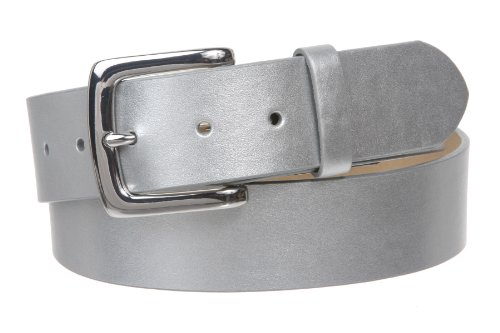 """1 1/2"""" (38mm) Square Nickel Free Snap On Plain Non-Leather Jean Belt Size: S/M - 30""""~32"""" Color: Silver"""