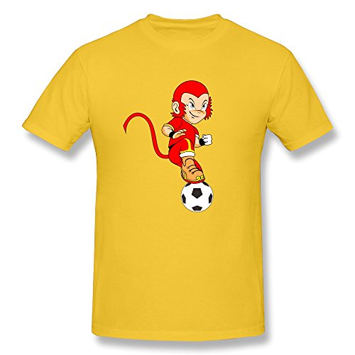 Ptcy Men'S Tee Red Monkey Play Football Us Size S Gold front-602776