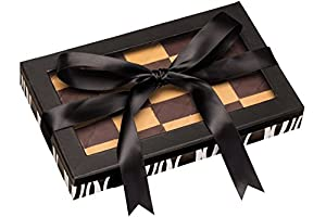 Call Me Nuts- Kosher Chocolate Checkerboard Fresh Roasted Peanut Chews Black Gift Tray, Box Platter Perfect for Thanksgiving, Christmas, Chanukah and Everyday Snacks