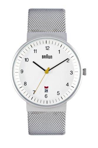Braun Men's Quartz 3 Hand Movement Watch BN0032WHSLMHG With Mesh Bracelet