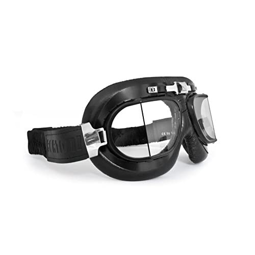 Vintage Motorcycle Goggles with Antifog and Anticrash Squared Lenses - Steel Profile - by Bertoni Italy - AF193A