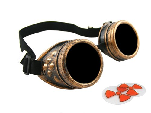 CyberloxShop® Steampunk Antique Copper Cyber Goggles Rave Goth Vintage Victorian - Includes FREE set of Exclusive CyberloxShop® Lense Design Inserts
