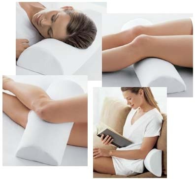 Half Moon' Memory Foam Cushion Pillow (Cream/White) - Soft Yet Firm - Use For Neck, Lower Back, Knees, Legs, Feet Virtually Any Position!