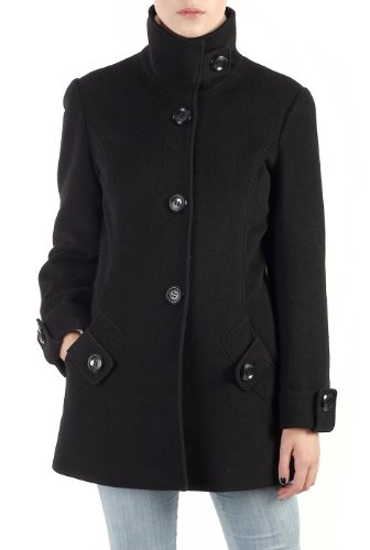 Phistic Women's Cashmere Blend Convertible Stand Collar Coat - Black 6