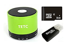 TETC Wireless Mini Bluetooth speaker HiFi Audio player with MIC For iPhone 5 ipad 3 Ipad 4 smart phone with Rechargeable Battery and Enhanced Bass Resonato (L-green)+ one 8G Card + one Card Reader by TETC