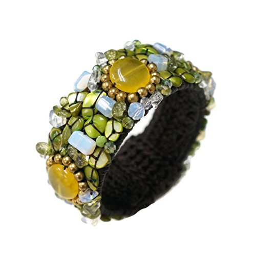PtPt, Green & Yellow Color of Life Mix Beads Stone Adjustable Bangle Wax Cord, Bracelet Fashion Jewelry (White Nail Polish Essie compare prices)