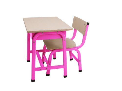 JIP Children's School Set Desk and Chair Metal, Fluorescent Pink
