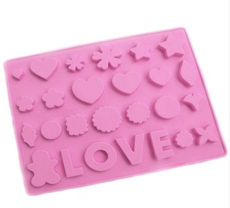Jade Onlines Adorable Symbols Patterns Leve Word Shaped Ice/Cake/Chocolate/Sugar Decorating Silicone Mini Cube Craft Fondant Mold Tray(Send By Random Colour)