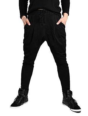 Allegra K Men Drawstring Wasit Buttons Decor Tapered Leg Baggy Harem Pants