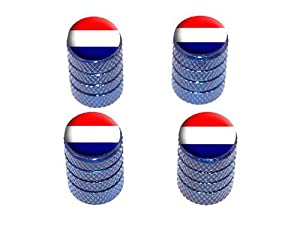 Netherlands Holland Flag - Tire Rim Wheel Valve Stem Caps - Blue