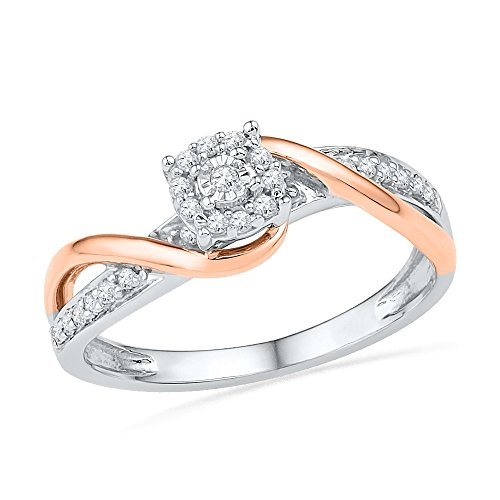 Sterling Silver With 10KT Pink Gold Round Diamond Promise Ring (1/6 cttw)