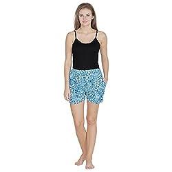 Klamotten Blue Animal Print Cotton Shorts Ks09_Tgr_Blu