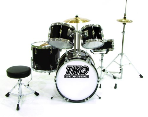 TKO 5-Piece Complete Kids/Children's Junior Drum Set - BLACK
