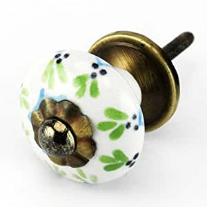 Painted ceramic cabinet knob drawer pulls handles set for Painted ceramic cabinet knobs