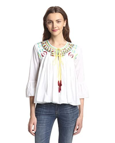 Raga Women's Long Sleeve Embroidered Peasant Top