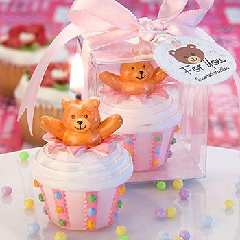 Teddy bear-inspired delectable pink cupcake candles, 1