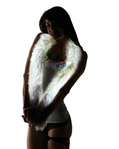 Light Up Fur Boa - All-White Fur With Led Lighting (Color Changing)