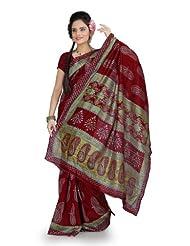 Designersareez Women Bhagalpuri Silk Printed Maroon Saree With Unstitched Blouse(856)