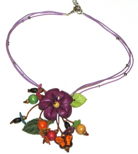 Flower Necklace - All Hand Worked Leather - Purple - Adjustable Size