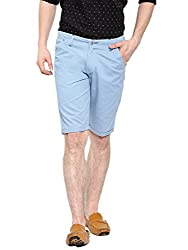 Showoff Men's Blue Slim Fit Solid Casual Chino Shorts