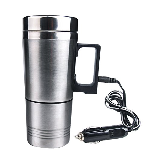 INHDBOX 12V Car Electric Kettle Heated Stainless Steel Mug Car Coffee Cup With Charger (Electric Kettle For Car compare prices)