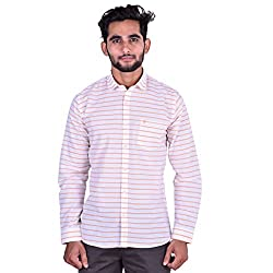 CORTOS White Cotton Linen Striped Regular fit casual Solid Shirt (Size: XXX-Large)