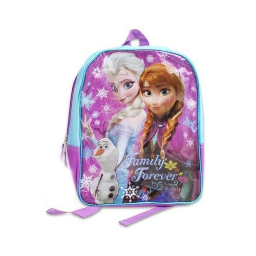"Disney Frozen 16"" Sparkle Backpack with Elsa, Anna, Olaf in Pink/Purple/Turquoise"