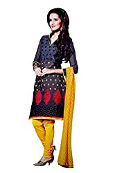 LT Women's Silk Cotton Black and Red Semi-Stitched Salwar Suit Dress Material With Dupatta