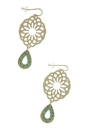 Karmas Canvas Textured Flower Cut Out Jewel Tip Earrings (Turquoise) front-1002959