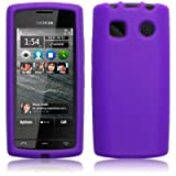 PURPLE SILICONE SKIN CASE FOR NOKIA 500 WITH SCREEN PROTECTOR