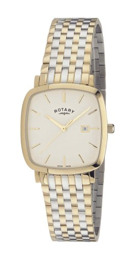 Rotary Gents Square Silver Dial 2 Colour Bracelet Watch GB02401/02