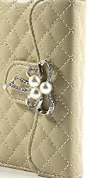 Beige Diamond Pearl Bowknot iPhone 4 4S leather Clutch Purse Wallet Handbag Case Cover