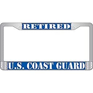 Amazon Com U S Coast Guard Retired Chrome License Plate