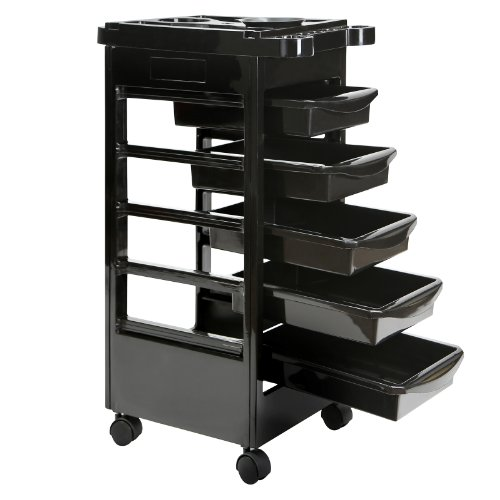 Saloniture – Beauty Salon Rolling Trolley Cart With 5 Drawers and a Mixing Bowl