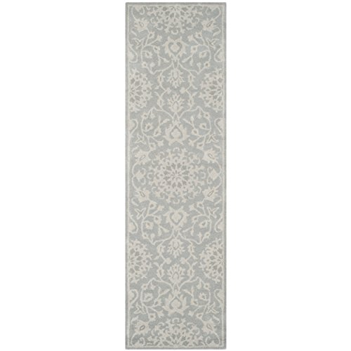 Safavieh Bella Collection BEL446A Handmade Grey and Silver Wool Runner, 2 feet 3 inches by 8 feet (2'3