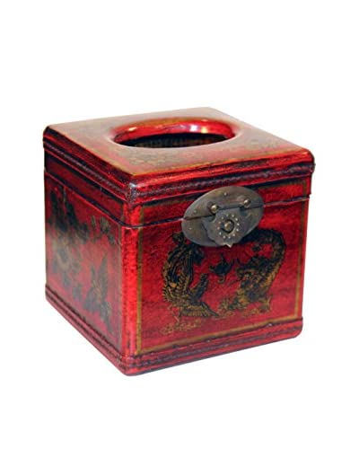 Asian Loft Leather Chinoiserie Tissue Box, Red/Gold